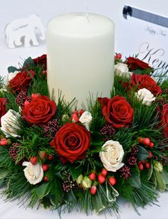 Christmas Table Arrangements Flowers.Christmas Table Decoration Christ Church Colne