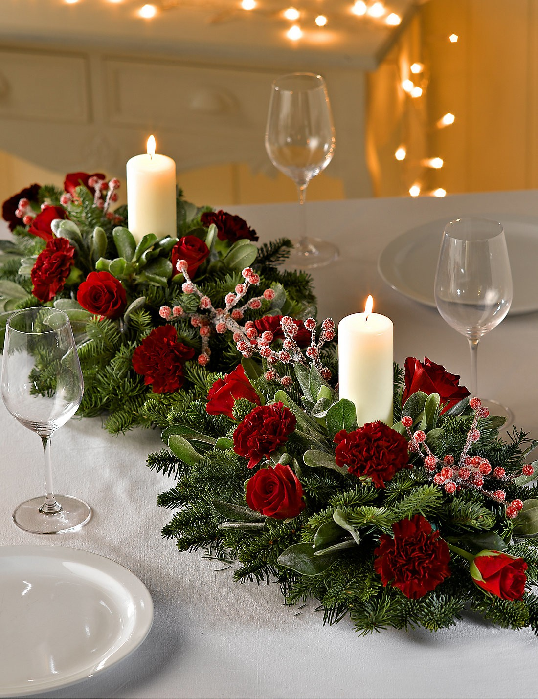 Christmas Table Centrepieces Designed by Phillo Flowers, UK